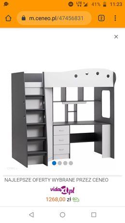 Łóżko piętrowe z biurkiem i szafa