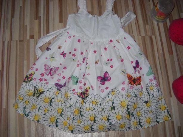 HM sukieneczka biała w kwiaty motylki podszewka, rozm.98, 3 latka nowa