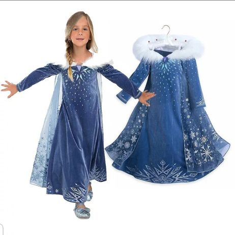 Платье Эльзы Frozen синее велюр с накидкой шлейф девочке 3-9 лет