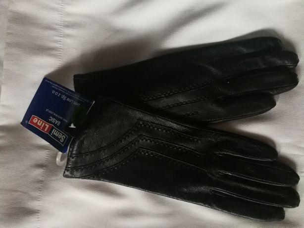 Rękawiczki damskie, czarne, skórzane, rozm. 7, S