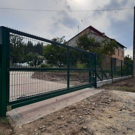 Brama panelowa 500x160 cm przesuwna ocynkowana i malowana komplet