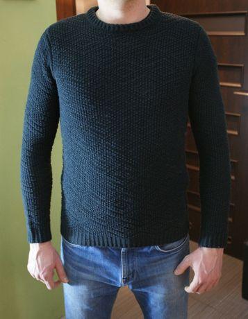 Sweter męski granatowy mięsisty roz XS/S grube sploty ciepły wygodny