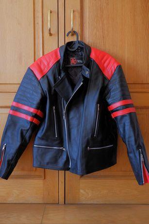 Casaco de couro estilo Biker Preto/Vermelho como novo