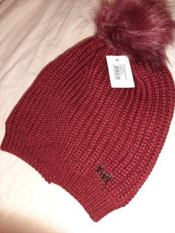Nowa bordowa czapka damska ciepła