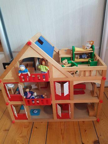 Drewniany domek dla lalek z pełnym wyposażeniem. Gratis: 6 laleczek