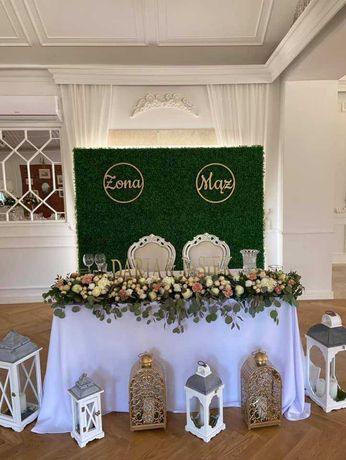 Ścianka weselna – Panel z bukszpanu, tło dekoracyjne