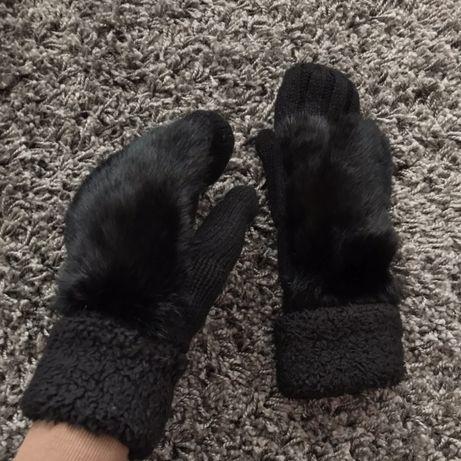 Варежки перчатки с меха кролика рукавиці з хутра кролика