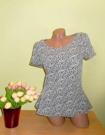 кофточка блузка трикотажная с баской 14 размер, тянется, даю замеры бе