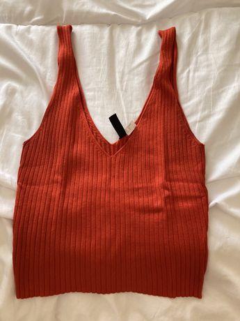 Top vermelho canelado H&M