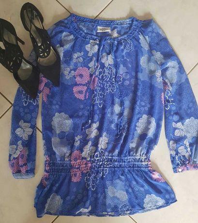 XL bluzka tunika flower kwiatowa ziewna letnia elegancka oversize