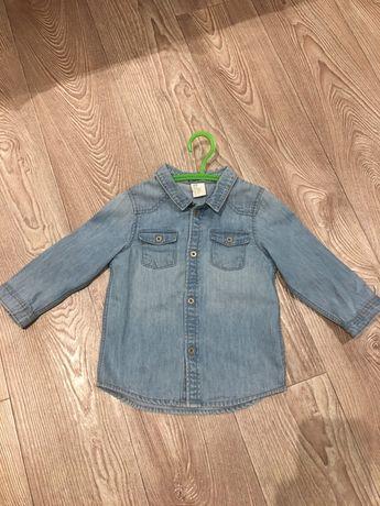 Джинсовая рубашка на мальчика 12-18мес