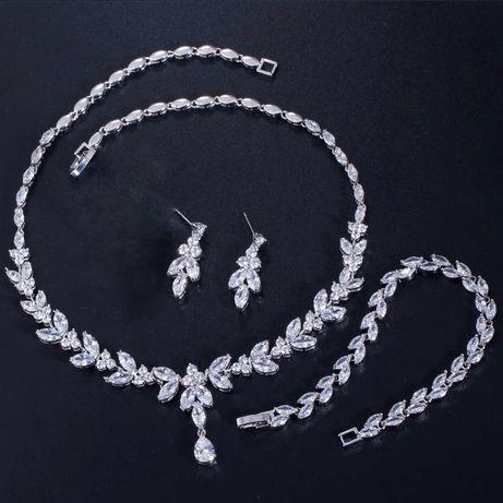 Nowy srebrny efektowny komplet biżuterii