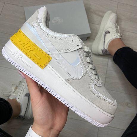 Женские кроссовки Nike Air Force 1 Shadow White Orange найк форс кожа