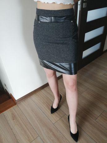 Spódnica M szaro czarna