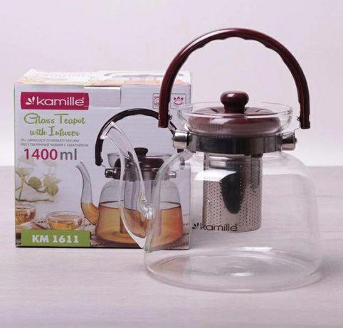 Стеклянный заварочный чайник. Заварник для чая Kamille (Польша)