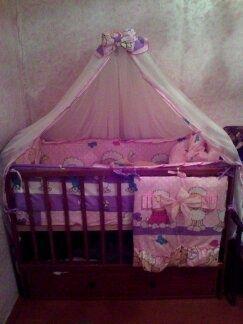 Комплект постельного для кроватки, детское постельное, балдахин