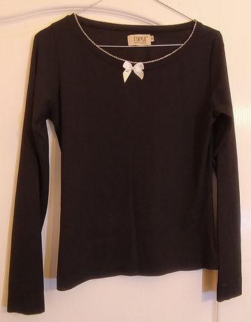 Czarna bluzka z kokardką ecru SIMPLE