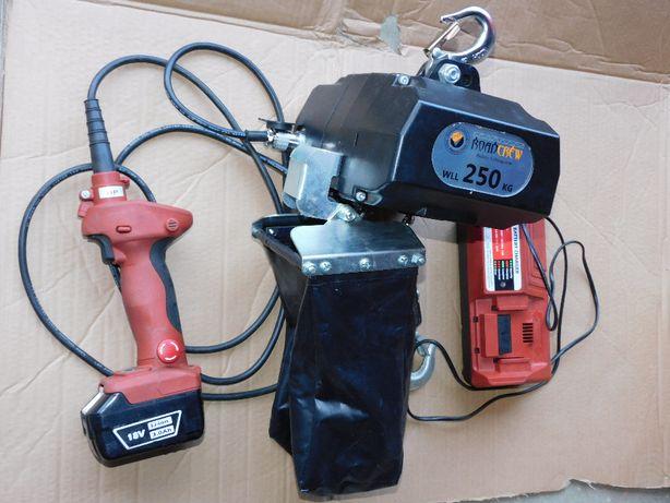 Akumulatorowy wciągnik łańcuchowy 250kg / 500kg wciągarka 18V