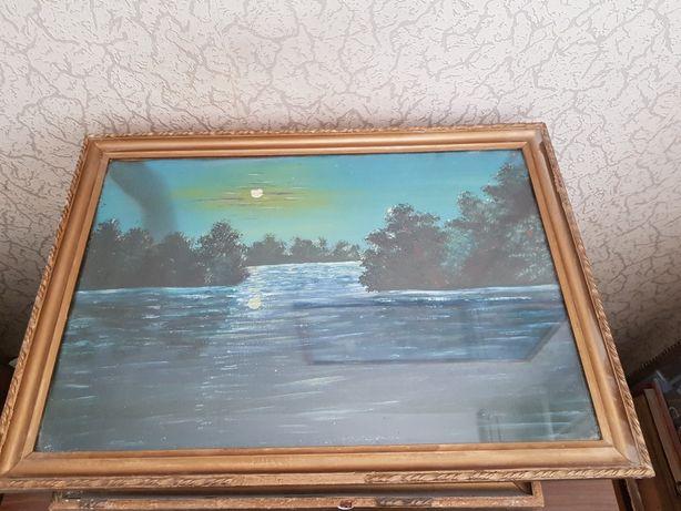 Stary obraz olejny jezioro.