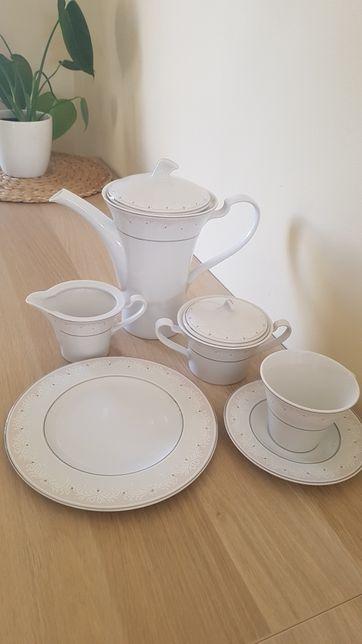 Zestaw kawowy porcelana ZPS Karolina,6 osób, 21 części, wzór, nowy