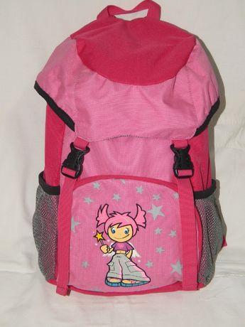 Школьный розовый рюкзак клапанного типа с нарисованной девочкой.