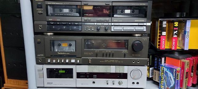 Aparelhagem vintage hi-fi Sanyo Technics Akay Crown Deck cassetes