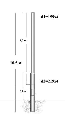 Опора освітлювальна ВК-10,5, стовп освітлювальний металевий 10,5м.