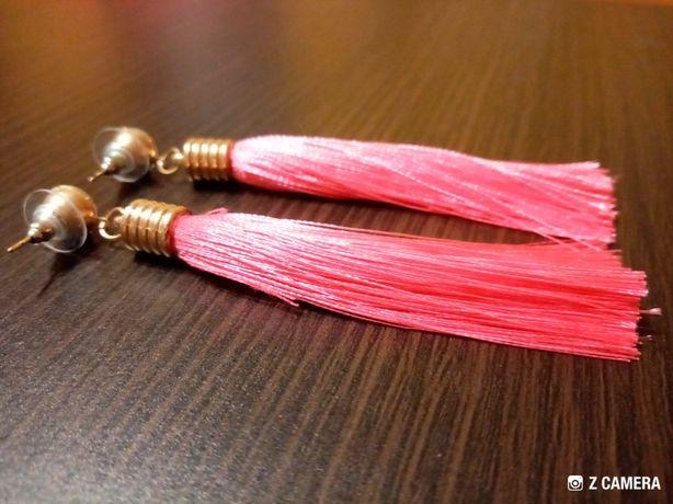 kolczyki różowe, długie