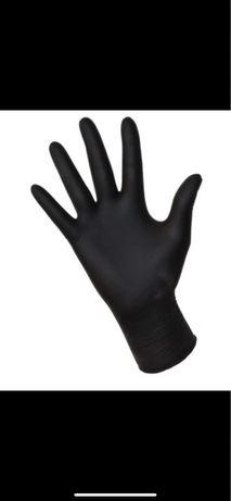 Rękawiczki nitrylowe bezpudrowe CZARNE ROZMIAR S