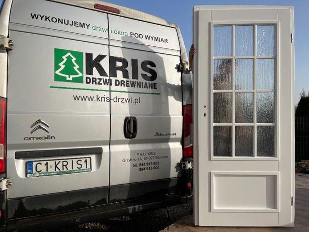 Drzwi drewniane sosnowe białe francuskie z oscieżnicą CAŁA POLSKA