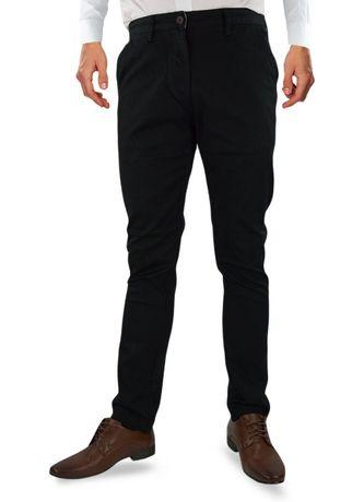 Nowe, czarne, bawełniane męskie chinosy marki M.Sara