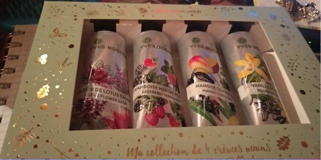 новогодний подарок коробка набор ив роше 4 крем для рук малина мята