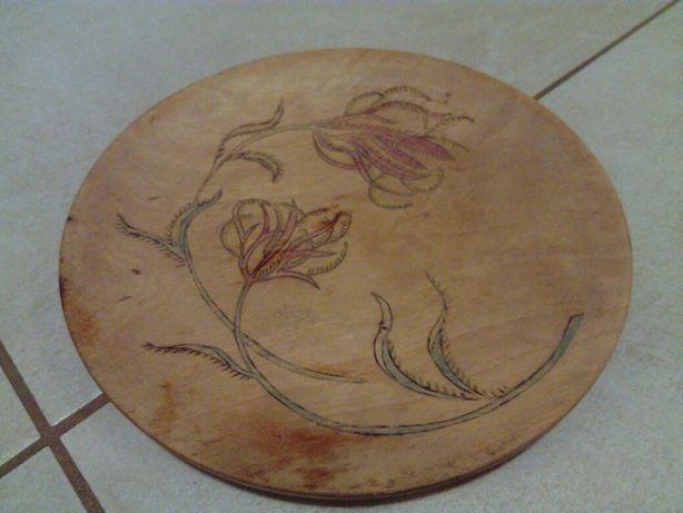 Stary talerz ozdobny drewniany 1944rok