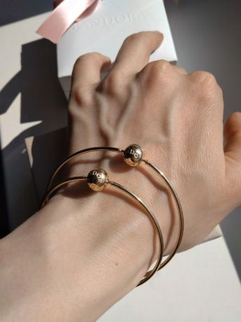 Pandora Essence, złote bangle, bransoletka 585