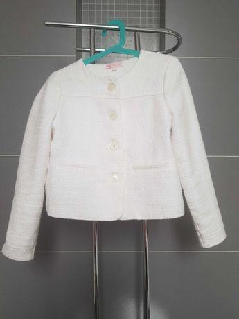 Biały, elegancki żakiecik 134 cm