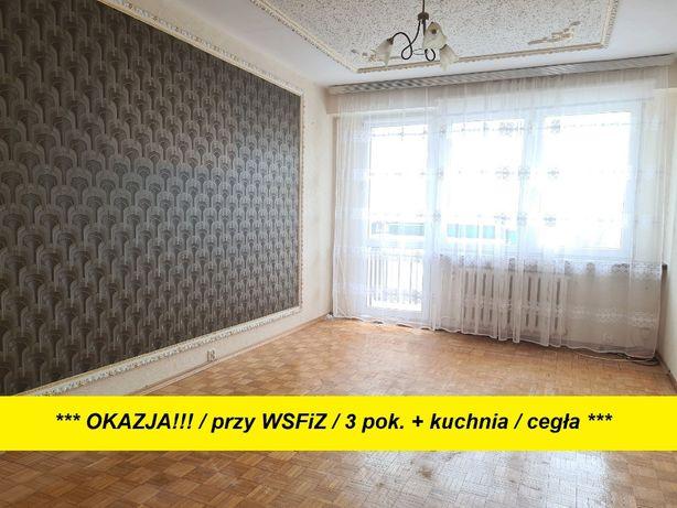 3 niezależne pok. / oddzielna kuchnia / 100m do WSFiZ / cegła / balkon