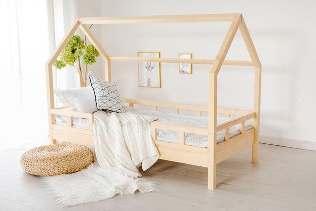 Nowe łóżko domek skandynawski, dziecięce, LuLu 5 Barierek NATURALNE