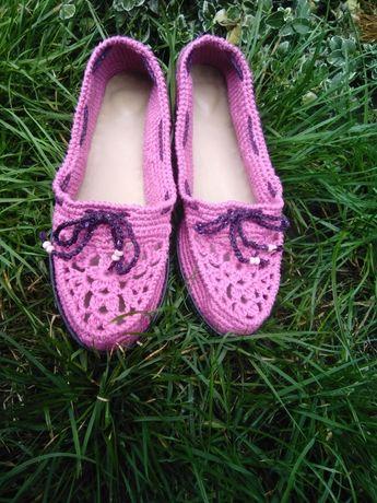 Летняя вязаная обувь (мокасины), ручная работа