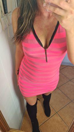 Sukienka paski neon roz S