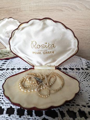 Korale ecru Rosita w pięknym pudełku
