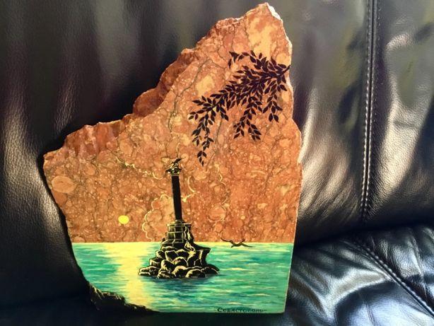Картина вид Севастополя на камне (гранит)