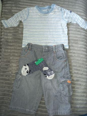 Komplecik bluzeczka i jeans i skarpetki 3-6 m-cy