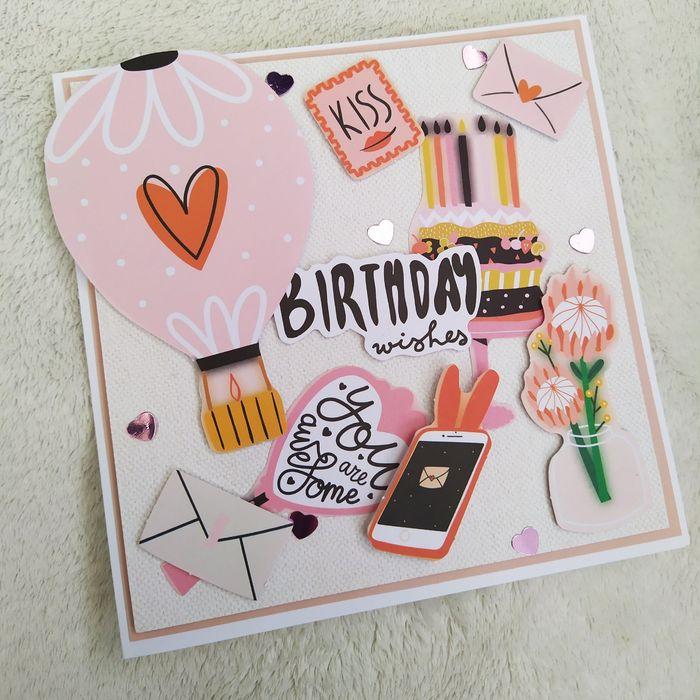 Ręcznie robione kartka urodzinowa, kartka do koperty Borek - image 1