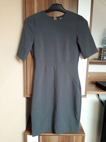 H&M sukienka elegancka 36 odkryte plecy popiel