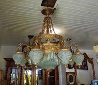 Lustre Grandes Dimensões Bronze Dourado 14 Lâmpadas