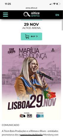 Vendo 3 bilhetes plateia em pe - Marilia Mendonça - 29 de novembro