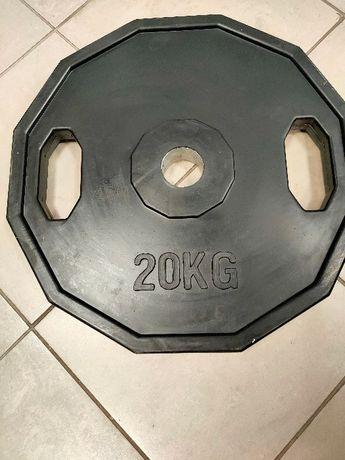 Obciążenie, talez, hantla, obciążenie olimpijskie 20kg gumowane.