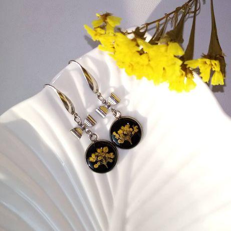Серьги с настоящими цветами, сережки из эпоксидной смолы