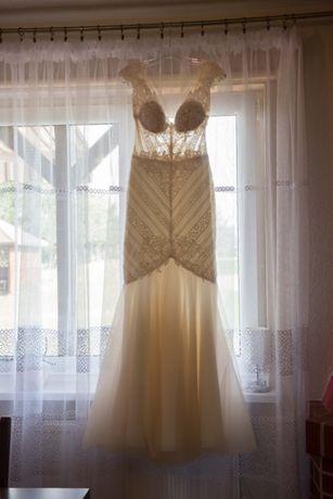 Suknia ślubna syrena syrenka piękna dopasowana podpinany tren