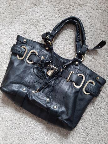 Skórzana torebka premium bovari do ręki padlock shopper bag